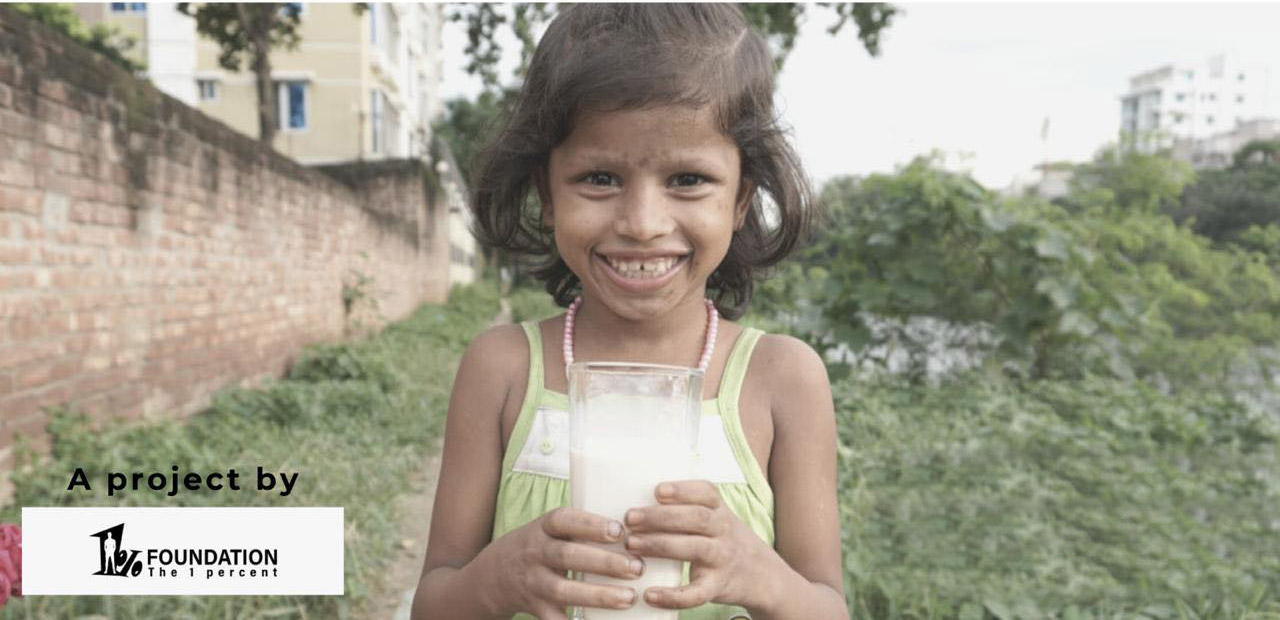 Daily 1 glass of milk for 10 kids for a month